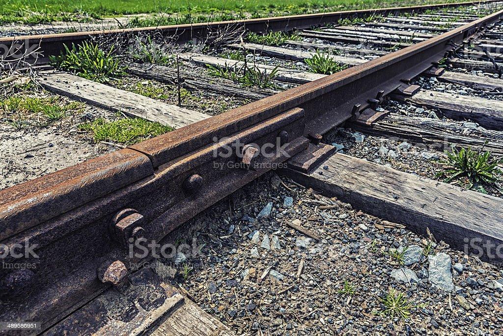 Rusty Railroad Track Coupling stock photo