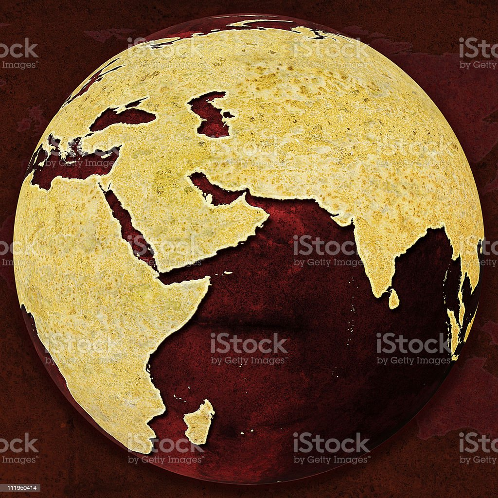 Rusty Red Globe on Asia royalty-free stock photo