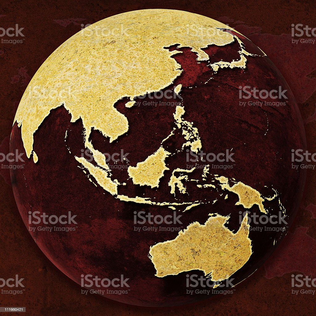 Rusty Red Globe on background Australia stock photo