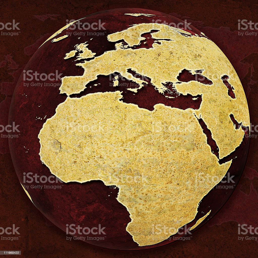 Rusty Red Globe on background Europe and Africa royalty-free stock photo