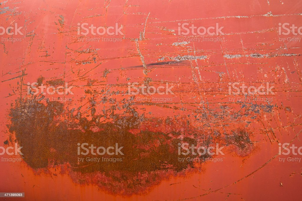 Rusty Red Metal Tank Texture - With Spider royalty-free stock photo