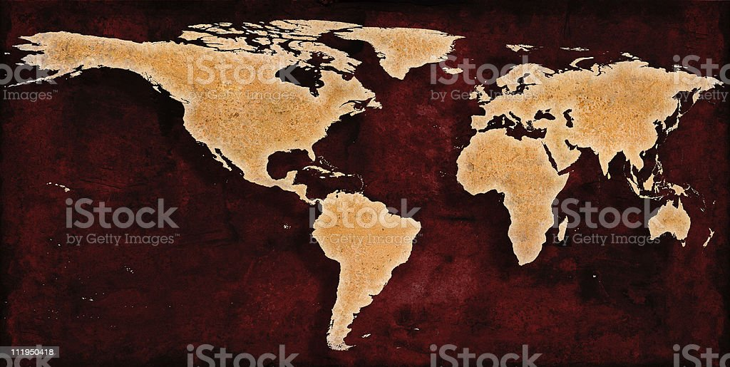 Rusty Red World Map, skewed to The Americas royalty-free stock photo