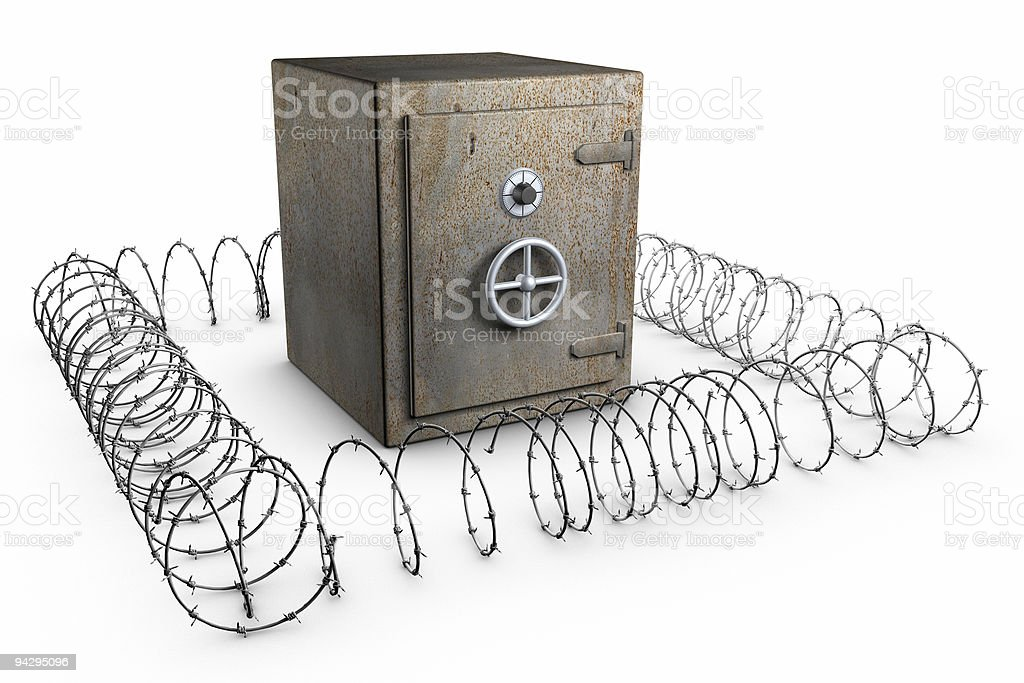 Rusty safe with barb wire royalty-free stock photo