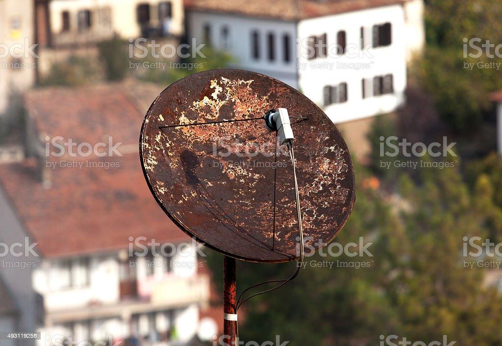 Rusty Satellite Dish stock photo