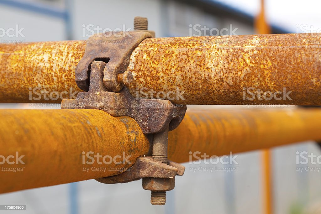 rusty scaffold in a construction site royalty-free stock photo