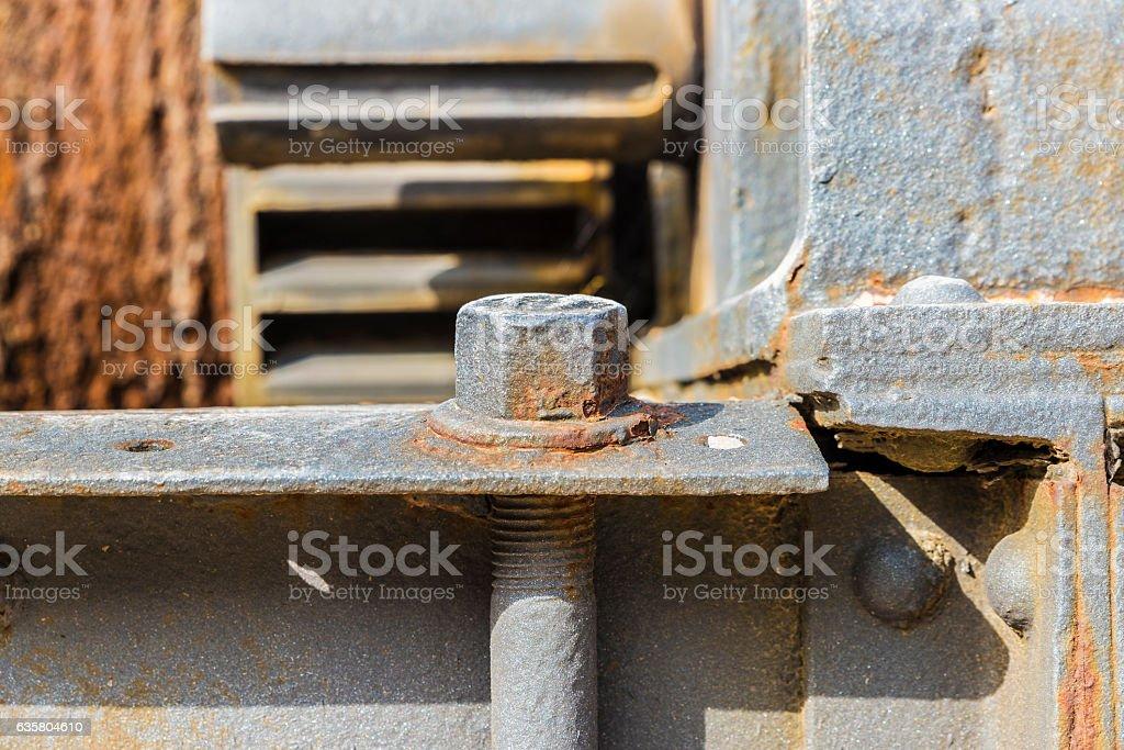 Rusty screw from a machine stock photo