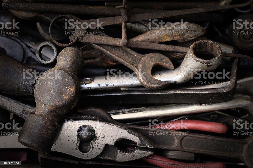rusty set of tools royalty-free stock photo