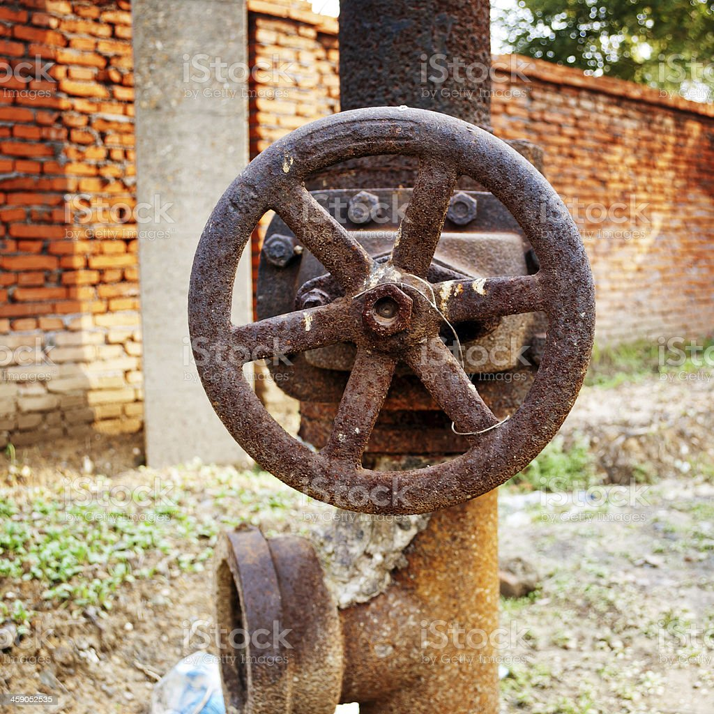 Rusty sewer valve royalty-free stock photo
