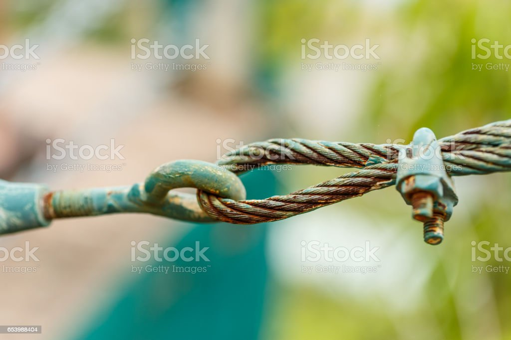 rusty shackle connect the sling in nature background stock photo