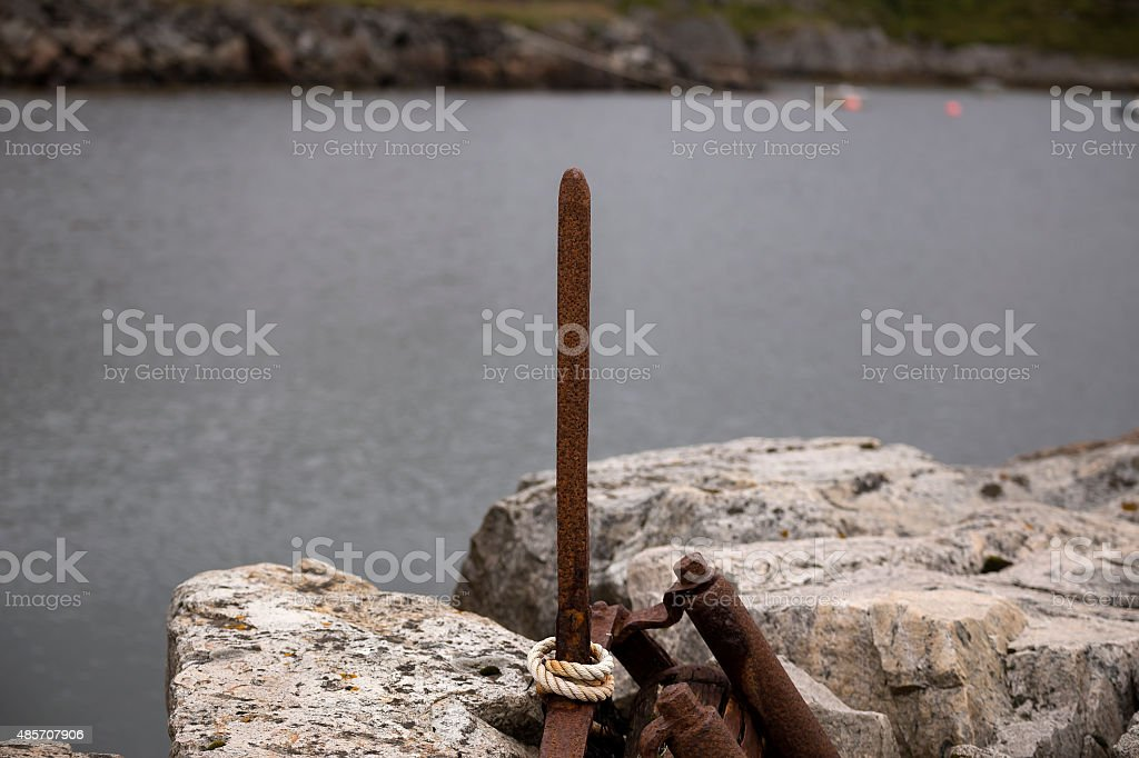 Rusty skewer and a rope royalty-free stock photo