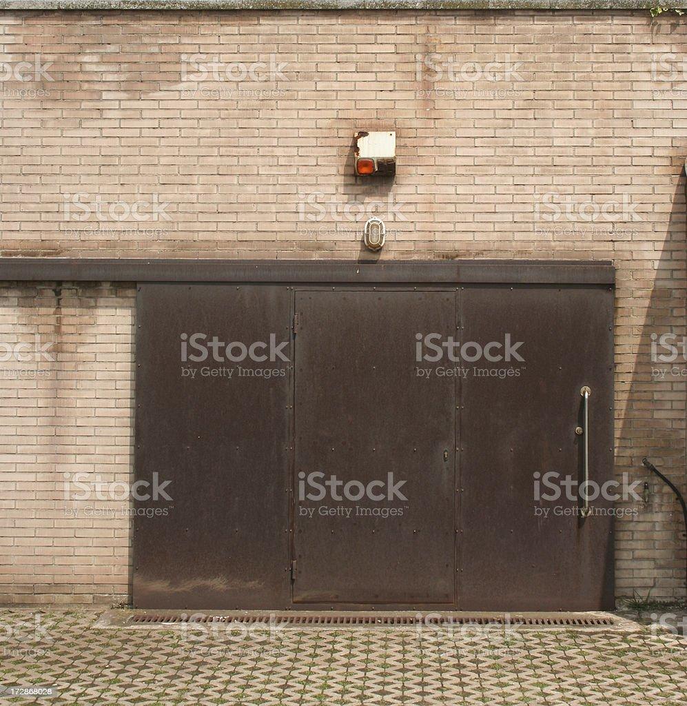 Rusty sliding door stock photo