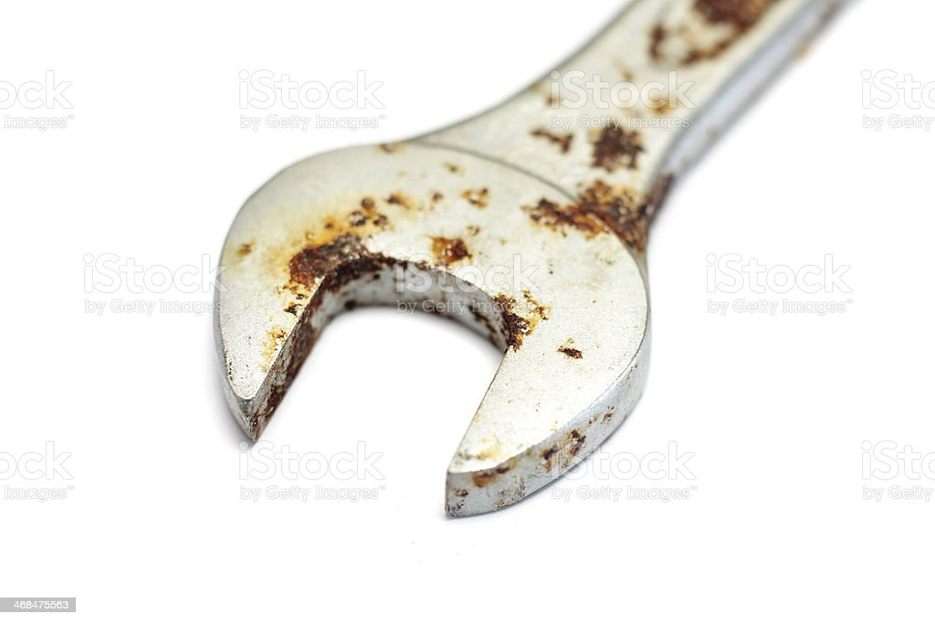Rusty spanner stock photo