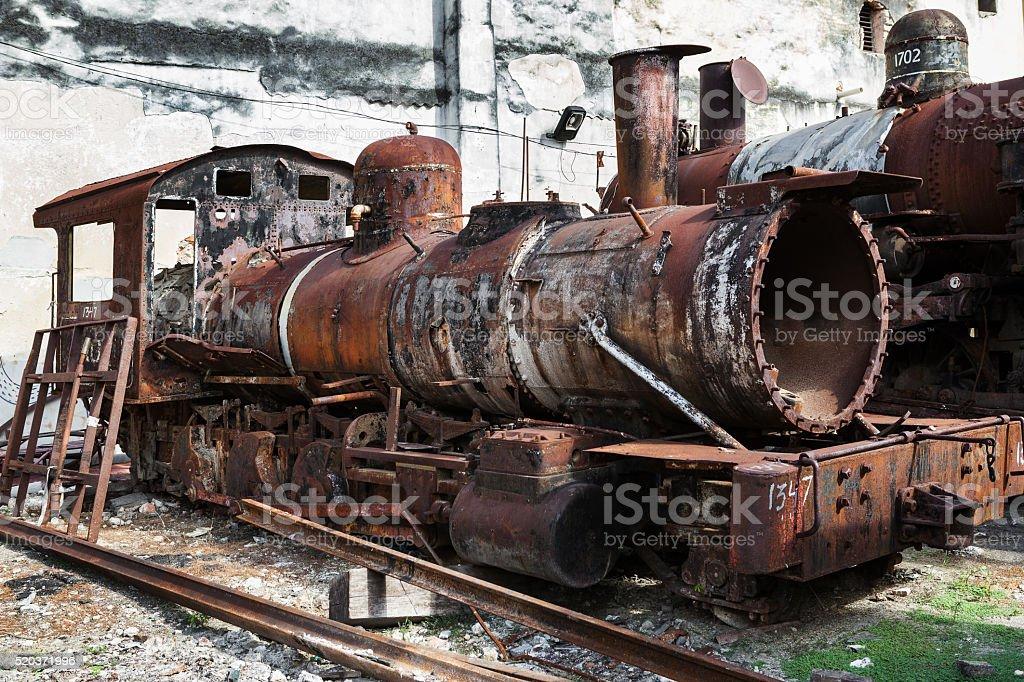 rusty steam locomotive stock photo
