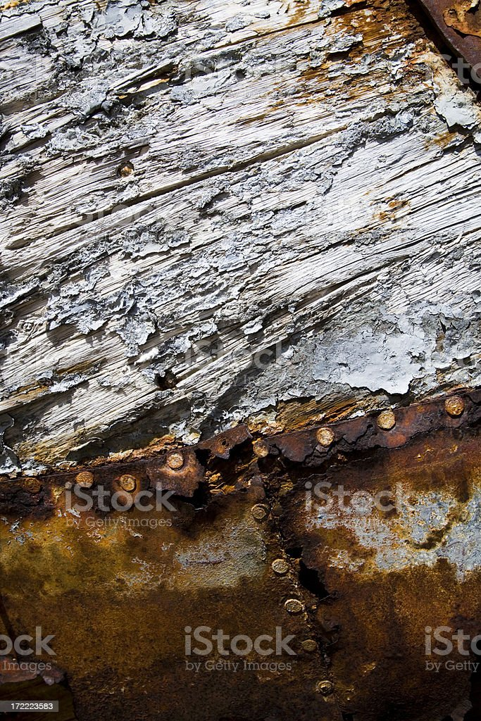 Rusty Steel and Rotten Wood royalty-free stock photo