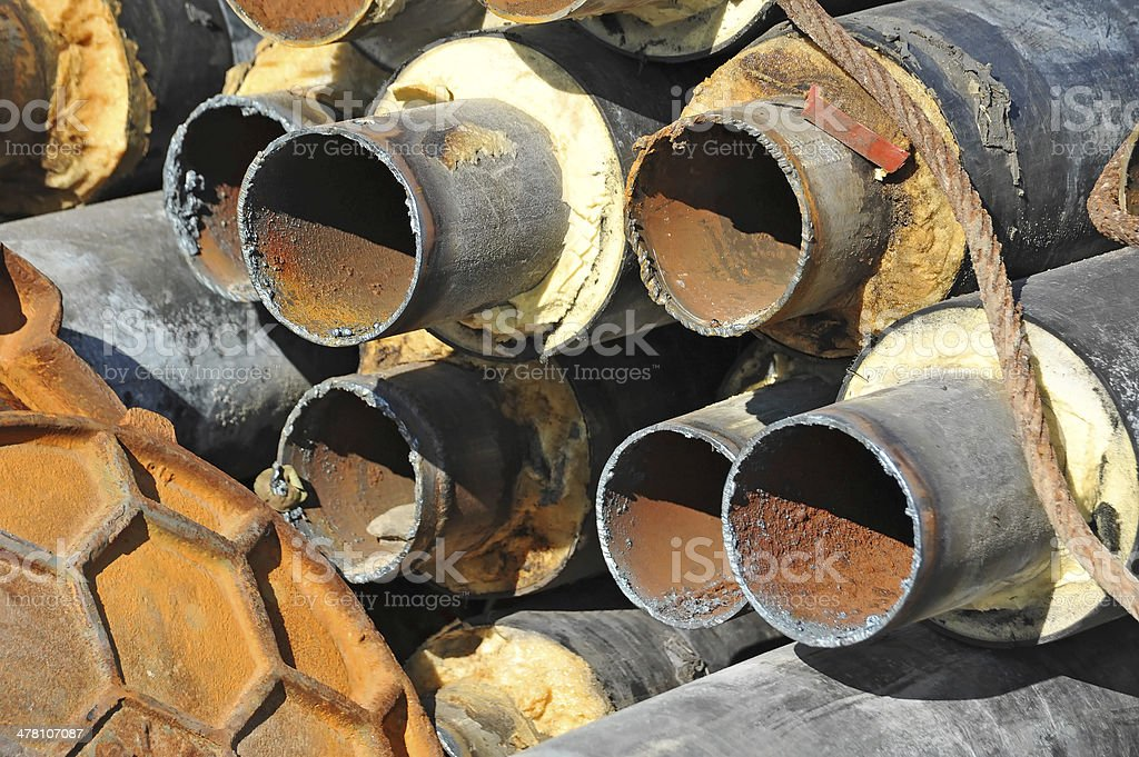 Rusty steel pipe with heat insulation royalty-free stock photo
