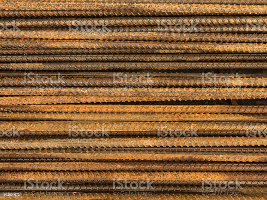 Rusty steel rebars stock photo