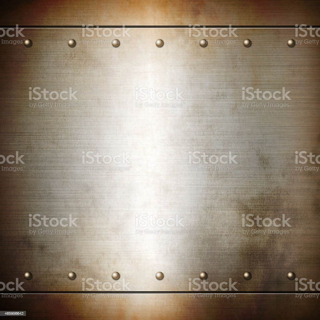 Rusty steel riveted brushed plate texture stock photo