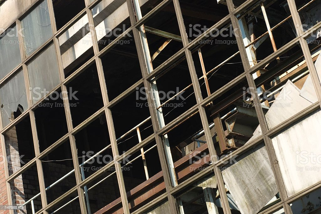 Rusty steel skeleton of abandoned factory in Cologne royalty-free stock photo