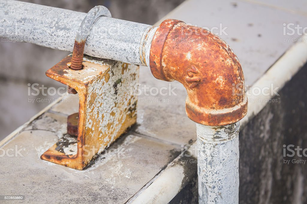 Rusty steel water-main pipe stock photo