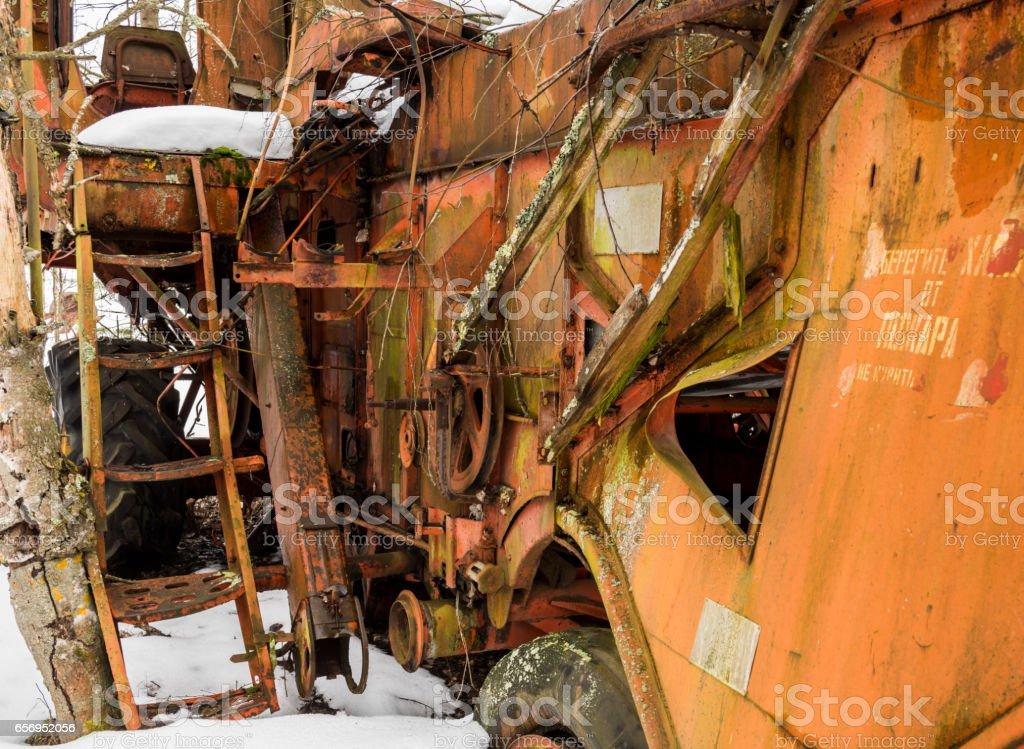 Rusty Threshers in Chernobyl stock photo