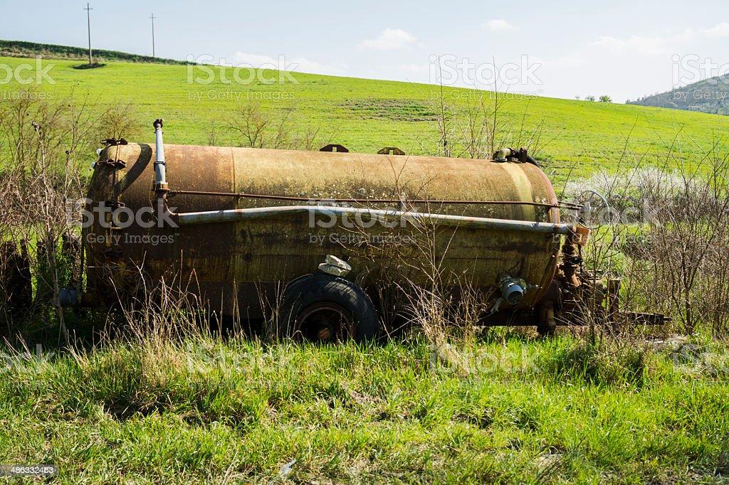 Rusty Tractor Tank Abbandoned stock photo