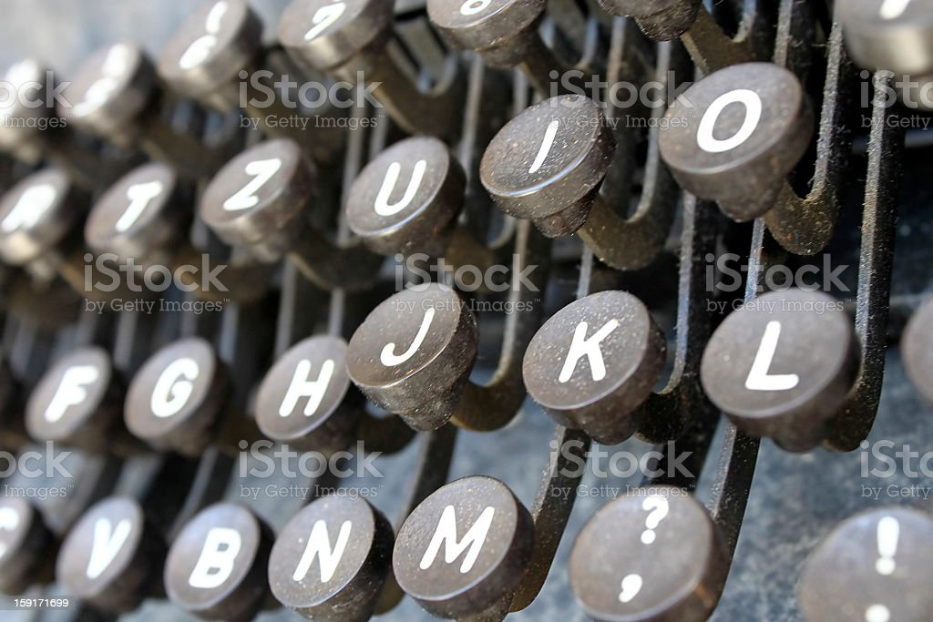 Rusty typewriter keyboard stock photo
