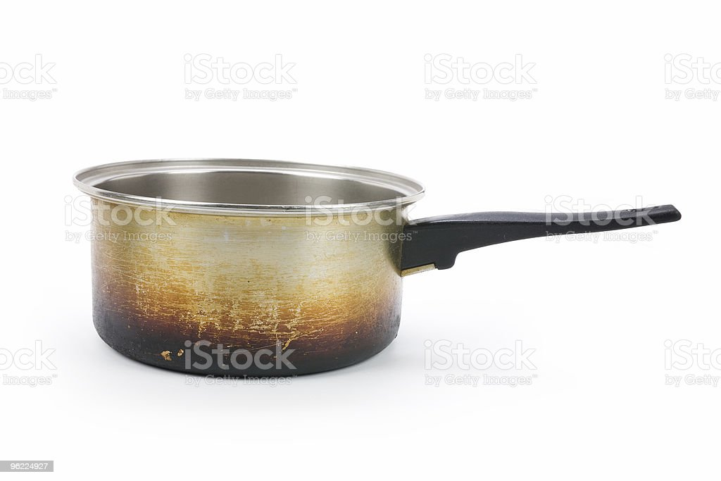 Rusty used aluminum pan over a white background royalty-free stock photo