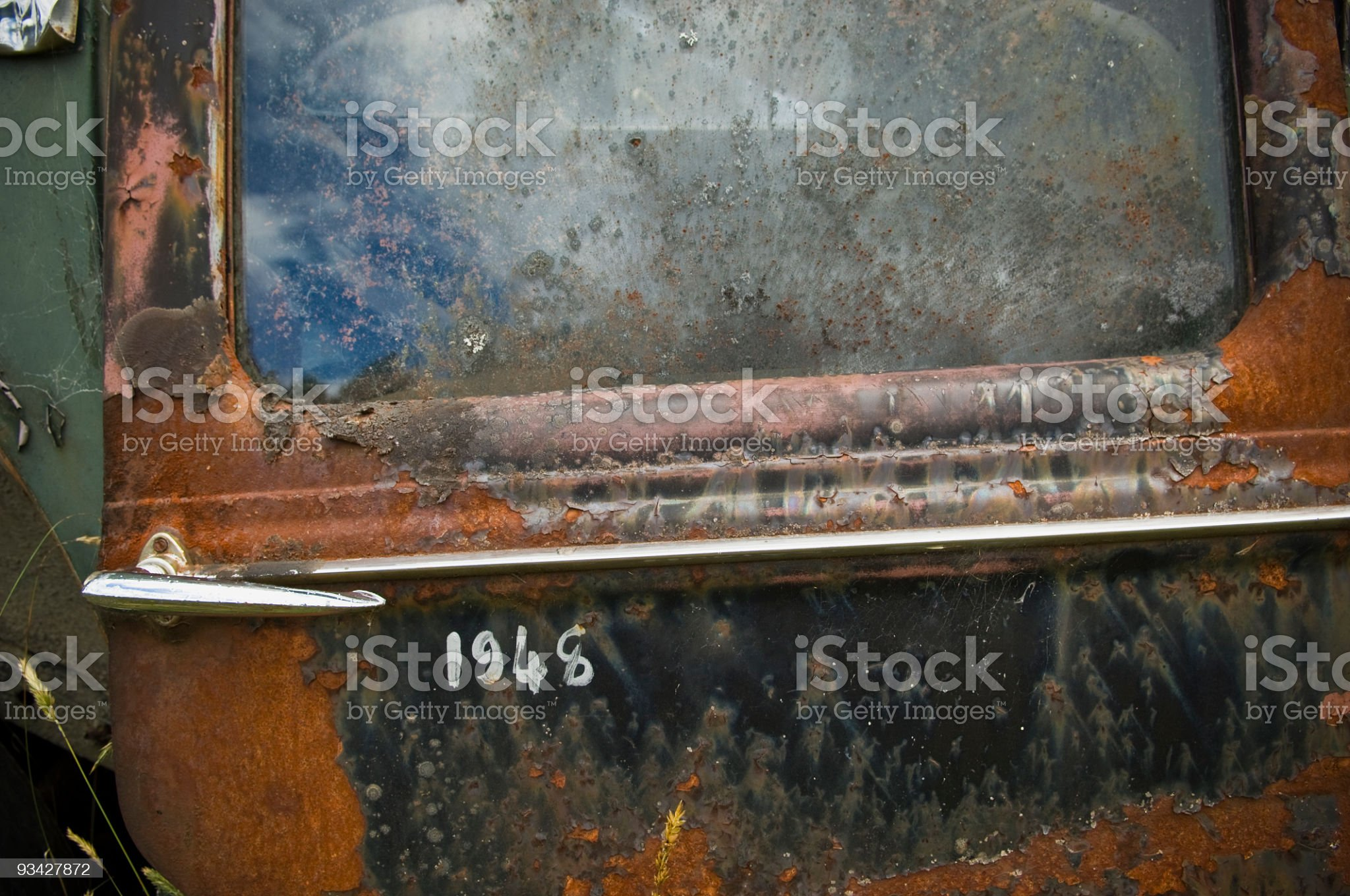 Rusty Vehicle Door from 1948 royalty-free stock photo