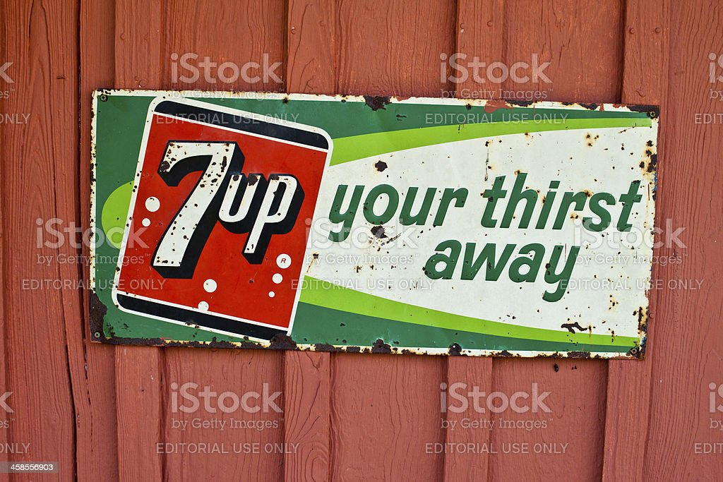 Rusty Vintage 7up sign stock photo