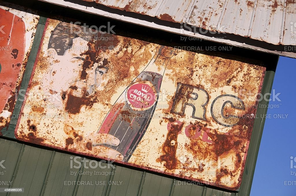 Rusty Vintage Royal Crown Cola Sign stock photo