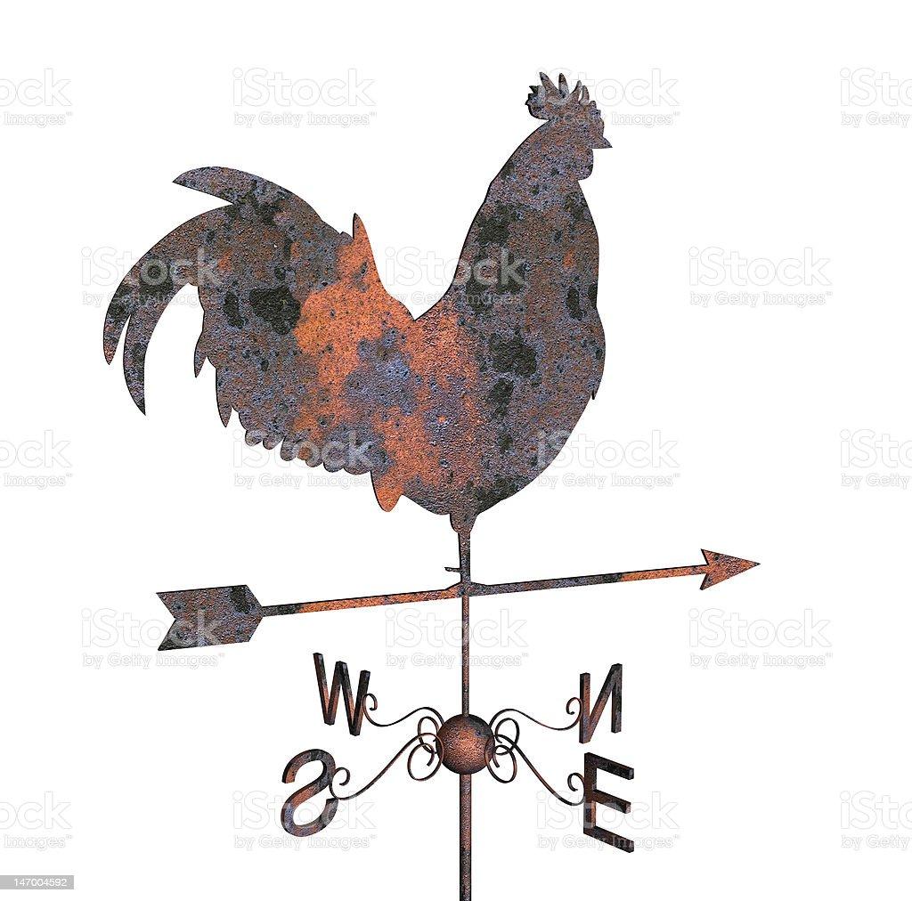 Rusty weathercock stock photo