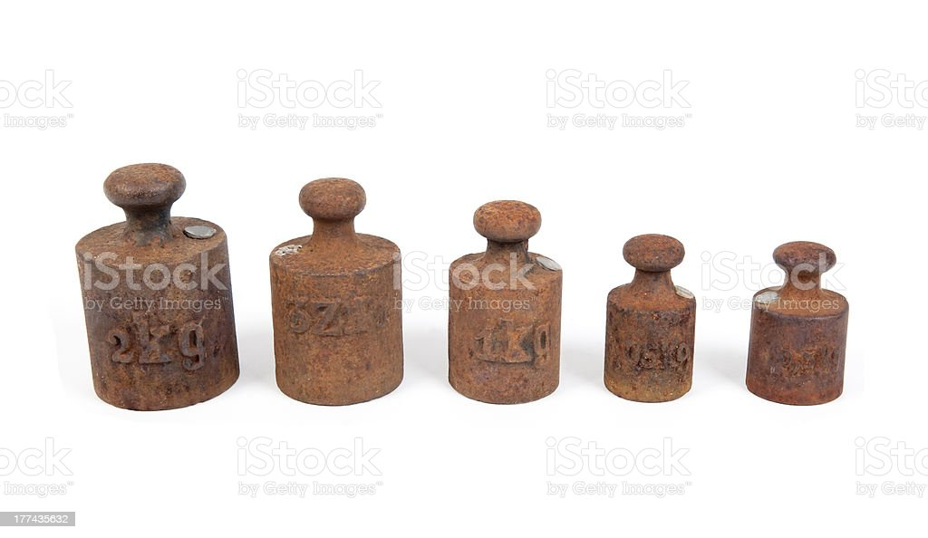 rusty weights stock photo