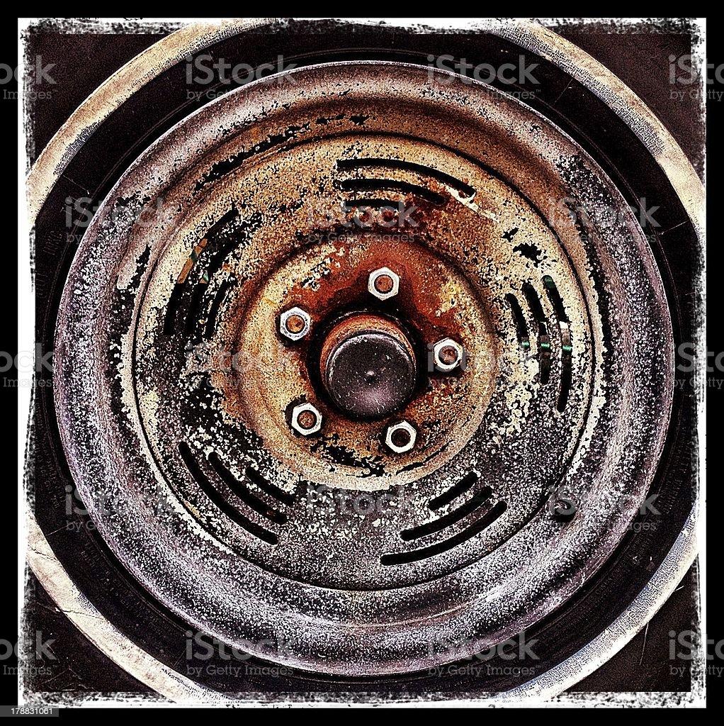 Rusty Wheel Well stock photo