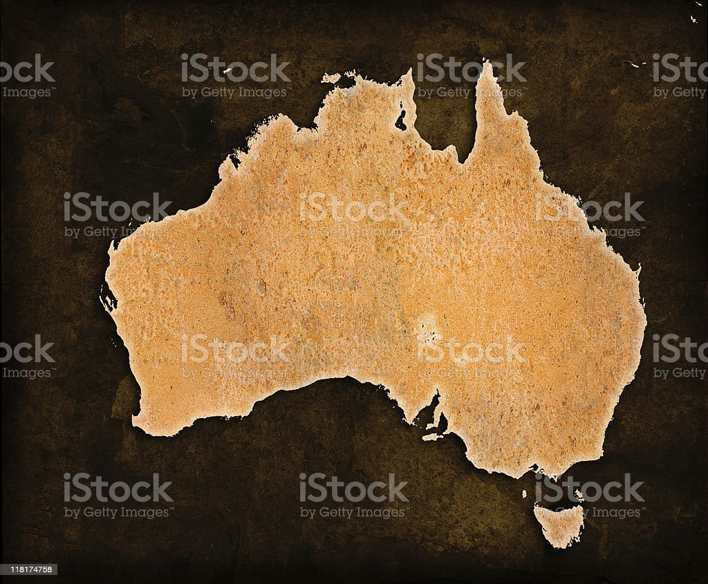 Rusty World Map on grungey brown background Australia royalty-free stock photo