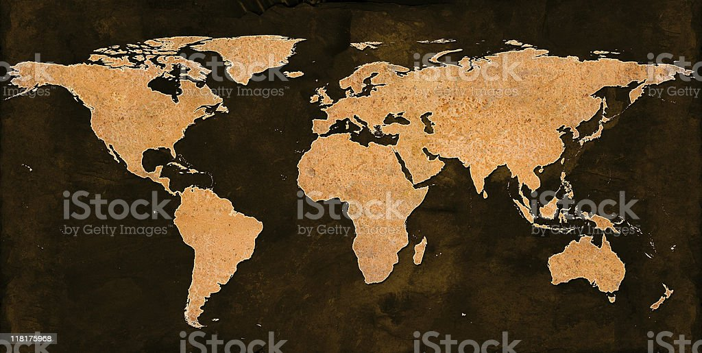 Rusty World Map on grungey brown background royalty-free stock photo