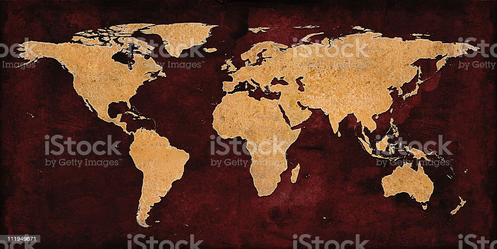 Rusty World Map on grungey red background stock photo