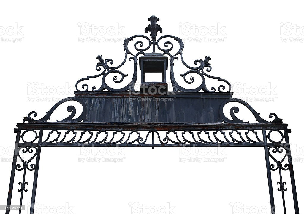 Rusty wrought iron arch stock photo