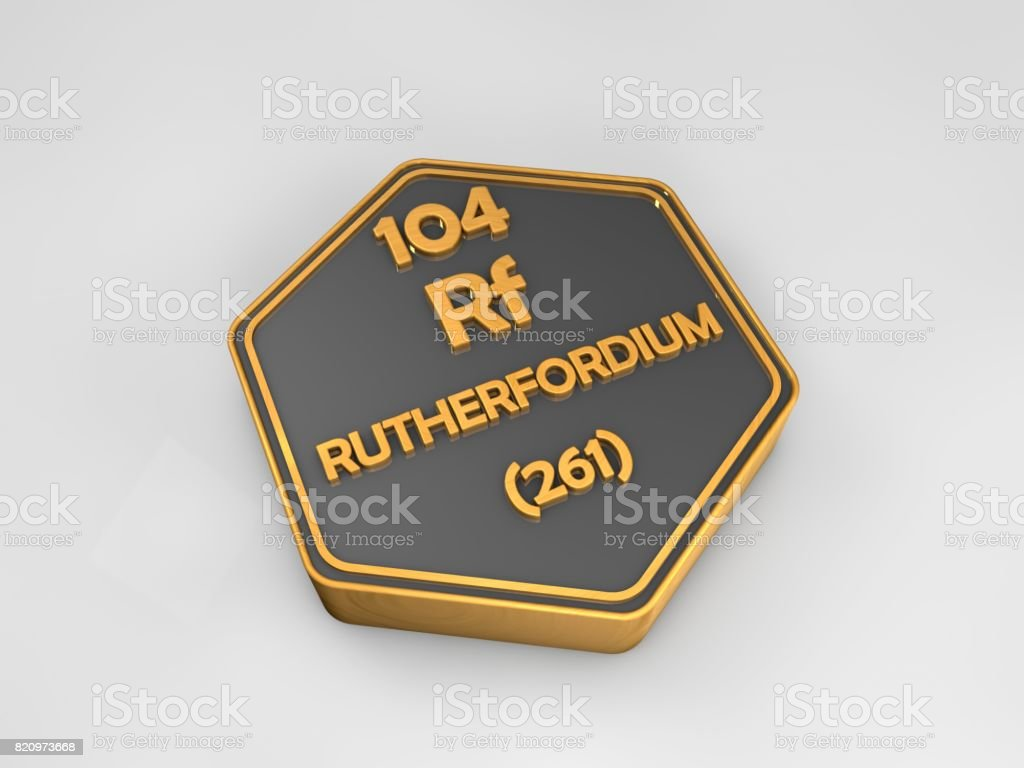 rutherfordium - Rf - chemical element periodic table hexagonal shape 3d render stock photo