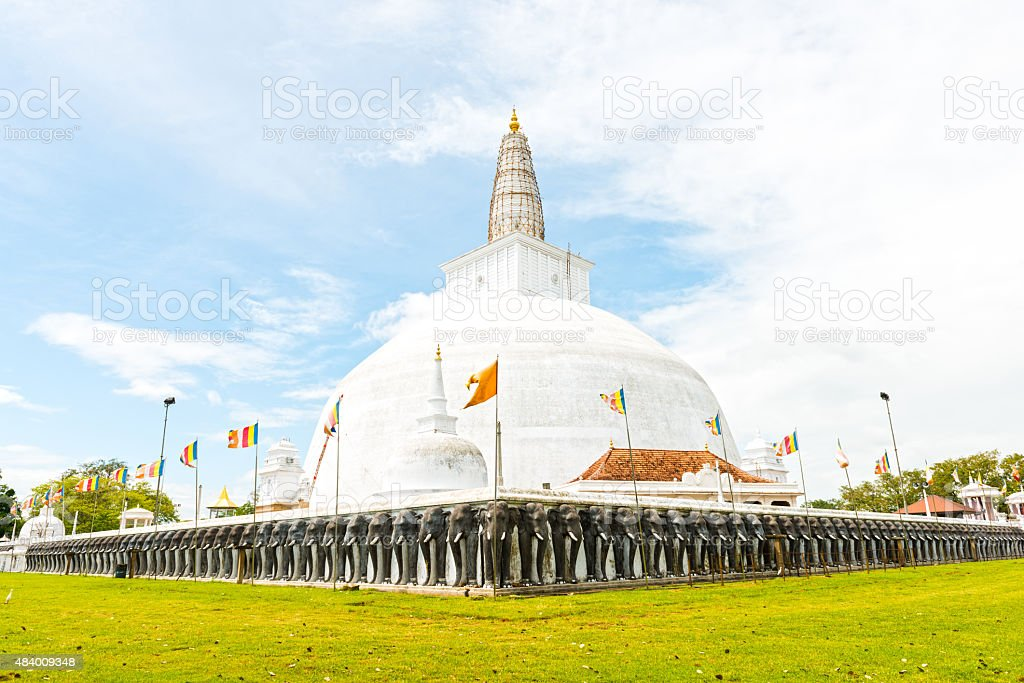 Ruvanvelisaya Dagoba in Anuradhapura stock photo
