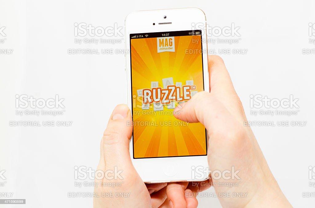 Ruzzle app on an iPhone 5 stock photo