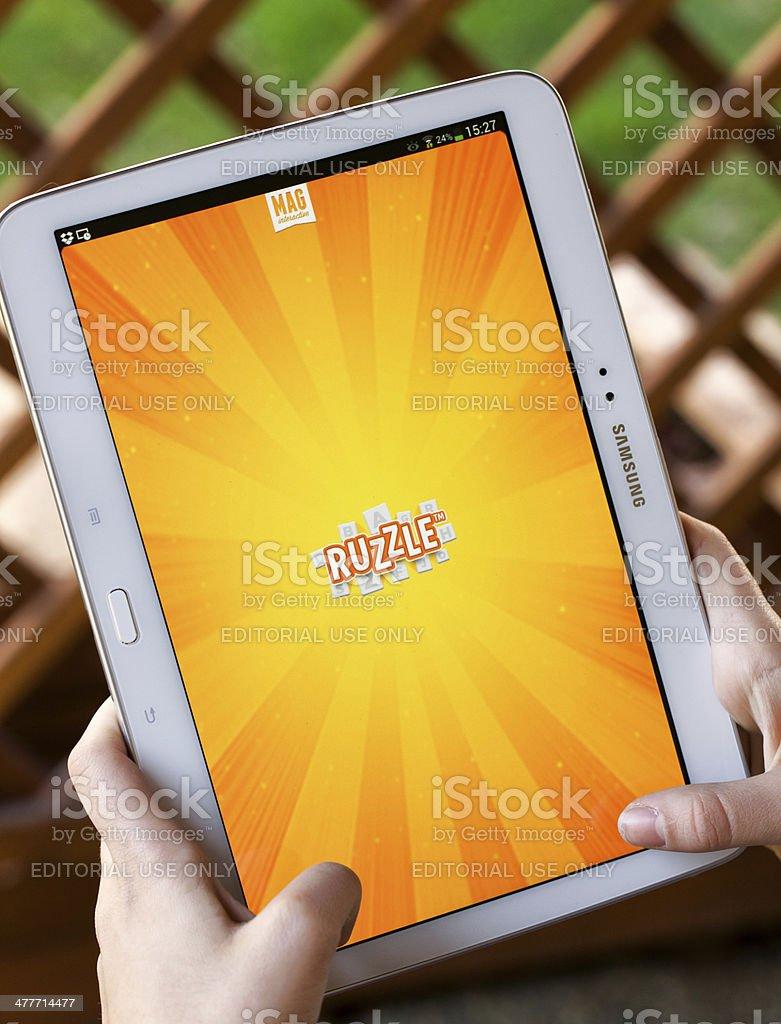 Ruzzle for Samsung Galaxy Tab 3 stock photo