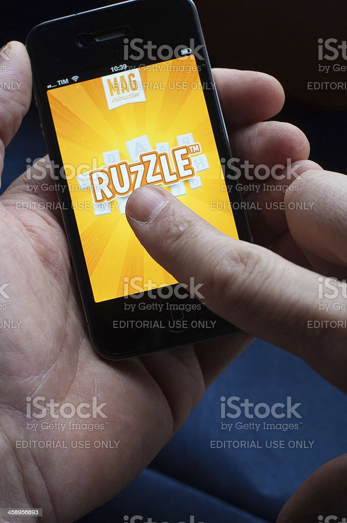Ruzzle on IPhone stock photo
