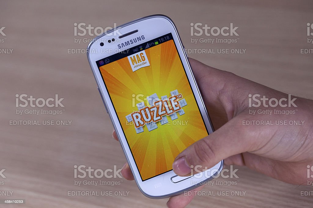 Ruzzle on Samsung Galaxy stock photo