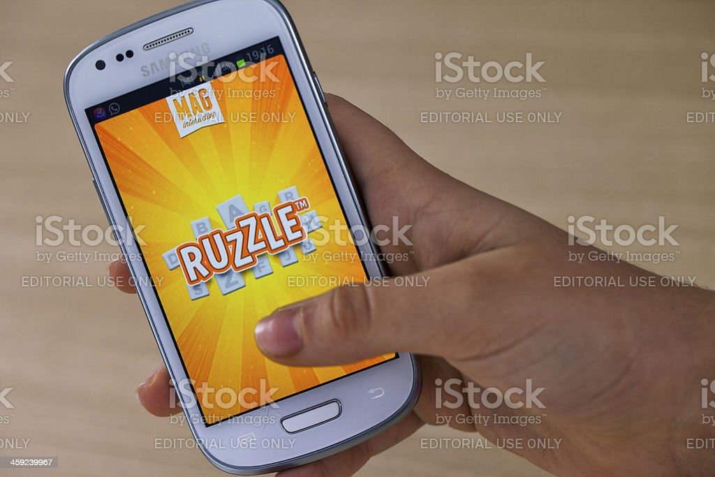 Ruzzle on Samsung Galaxy stock photo