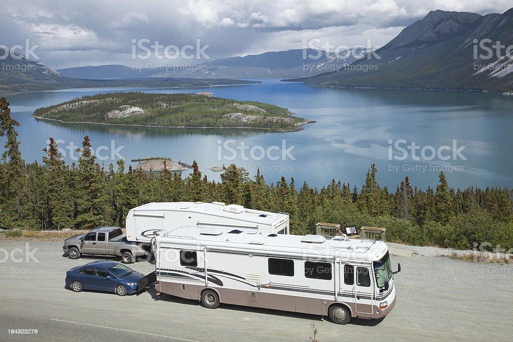 RVs at Tagish Lake's Bove Island Overlook near Carcross Yukon royalty-free stock photo