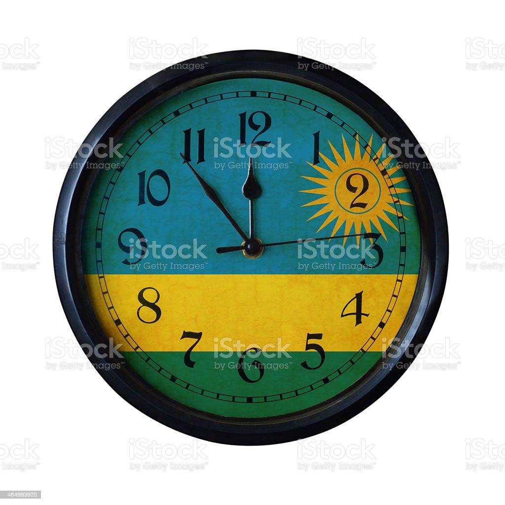 Rwanda Flag Wall clock - Watch port for same series stock photo