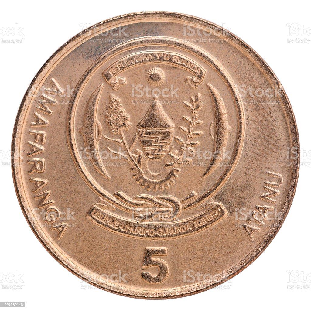 Rwanda franc coin stock photo