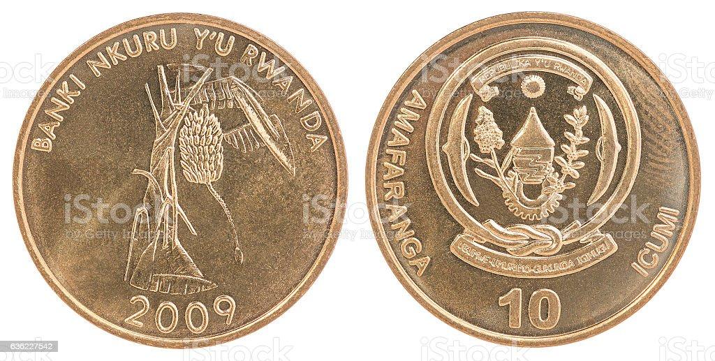 Rwanda franc coin set stock photo