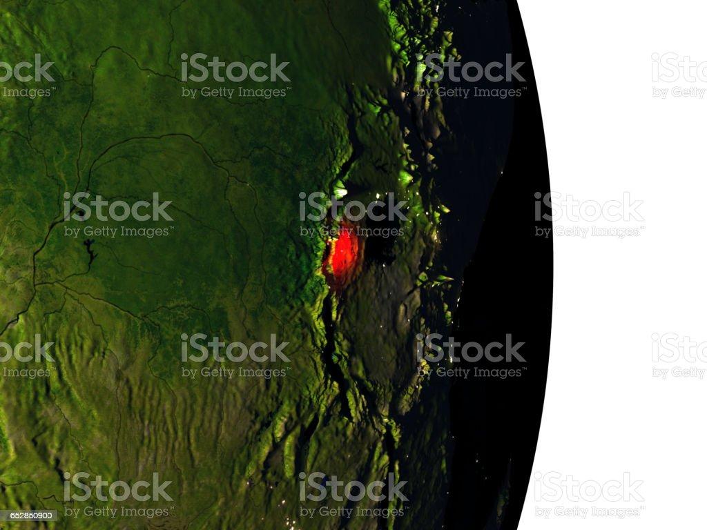 Rwanda from space during dusk stock photo