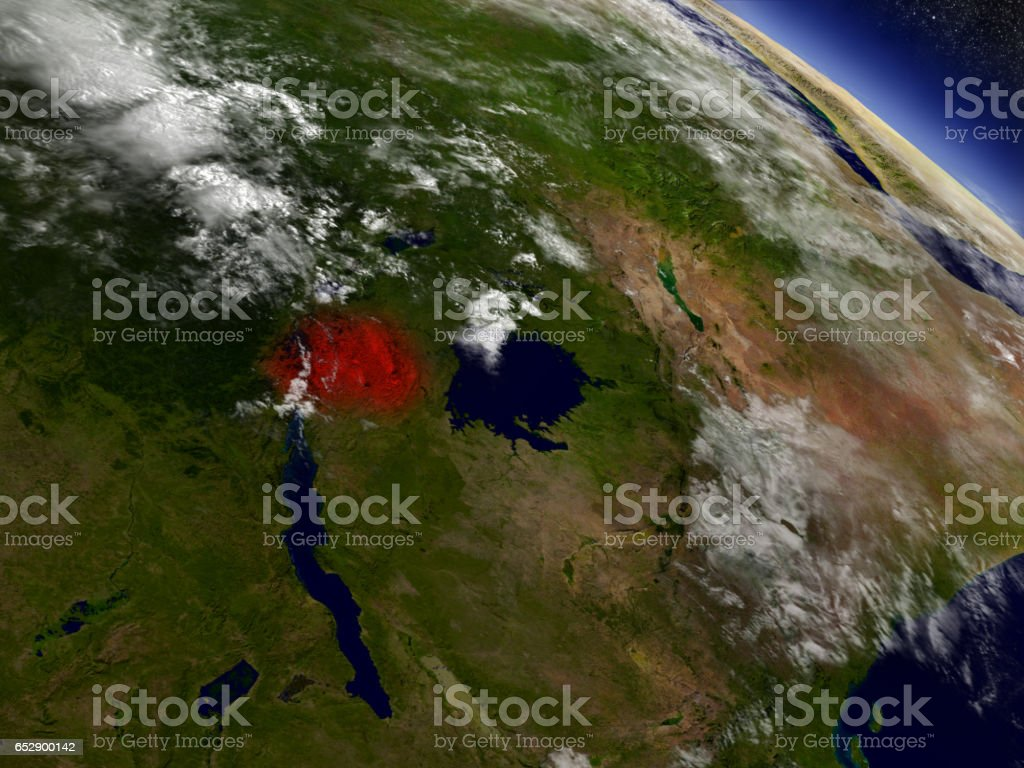 Rwanda from space highlighted in red stock photo